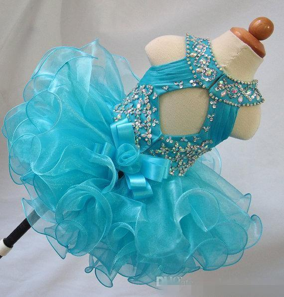 Blue jewel crystal backless sleeveless bow organza flower girls beads cupcake pageant dresses kids toddler glitz prom Infant ball gowns