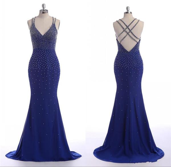 Arabic Evening Dress Criss Cross Straps V Neck Royal Blue Pearls Online-Clothing-Shopping Spandex Royal Blue Mermaid V Back Sexy Dress