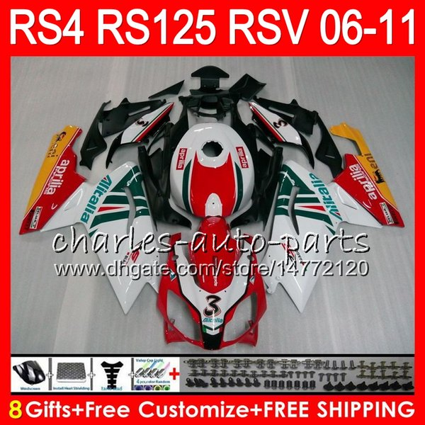 Carrocería para Aprilia RS4 RSV125 RS125 06 07 08 09 10 11 RS125R RS-125 70HM11 RSV 125 RS 125 2006 2007 2008 2009 2010 2011 Kit de carenado Rojo blanco