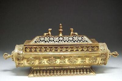 Exquisite China Tibet world reincarnation totem - brass incense burner