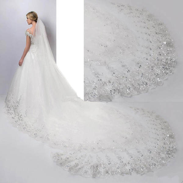 2017 Free Shipping Luxury 4 Meters Long Bridal Veils Lace Sequins with Comb Applique Edge Wedding Veils Cheap Bridal Accessories