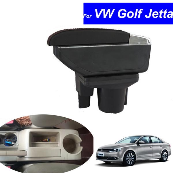 Leather Car Center Console Armrest Boxfor Volkswagen VW Golf Hatchback 2010~2012 / Jetta 2007~2012 Armrests Free Shipping