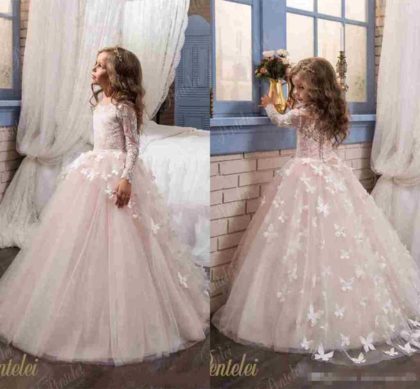 best selling Elegant Butterfly Flower Girls Dresses For Wedding 2019 Cheap Long Sleeves and Crew Neck Appliques Blush Pink Little Girls Prom Party Gowns