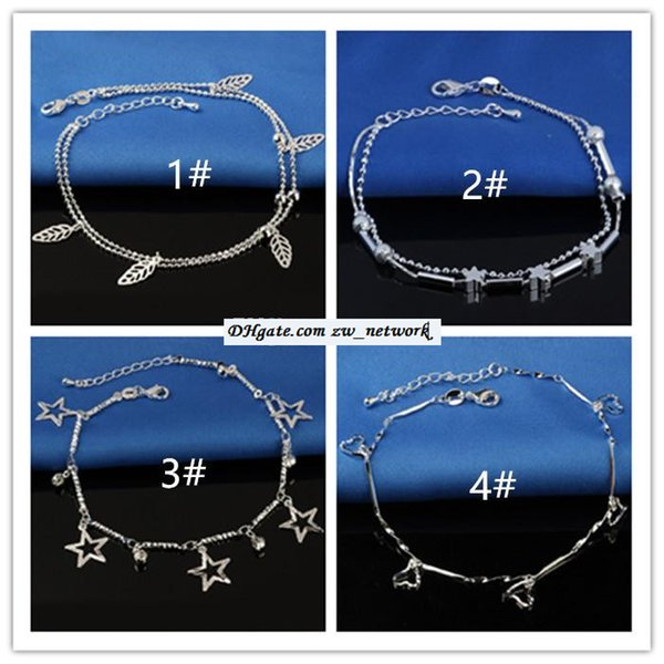 top popular Cheapest! Beach anklet 20 styles bracelets beach jewelry new Sterling silver Double layers anklets Boot Foot 2019