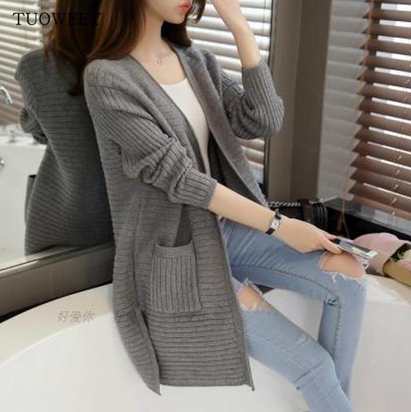 Wholesale-2016 Herbst Stil Herbst Winter Warm Outwear Mode Pullover für Frauen grau übergroßen Pullover Poncho weibliche Strickjacke 2142