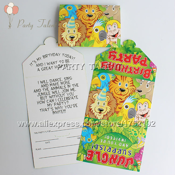 Wholesale party supplies jungle theme party birthday party wholesale party supplies 20pcs jungle theme party birthday party decoration paper invitation card jungle stopboris Choice Image