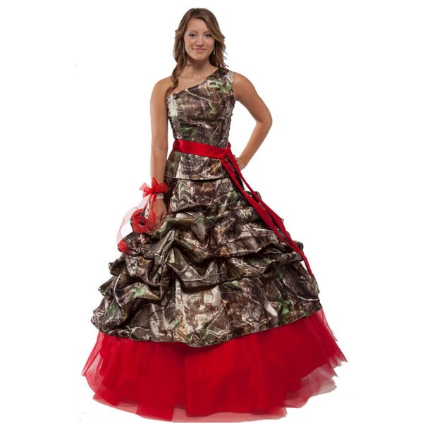 One Shoulder Camo Wedding Dresses Realtree Camouflage Satin A Line Floor Length Bridal Gowns
