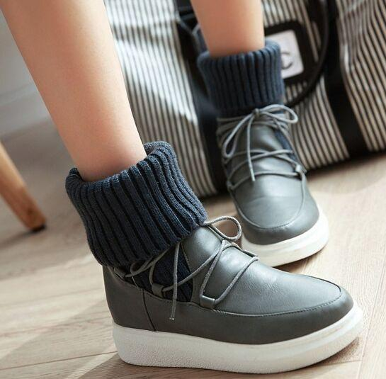 New Arrival Hot Sale Specials Super Fashion Influx Martin Retro Knight Warm Students Snow Cotton Wool Stitching Lace Up Ankle Boots EU34-39