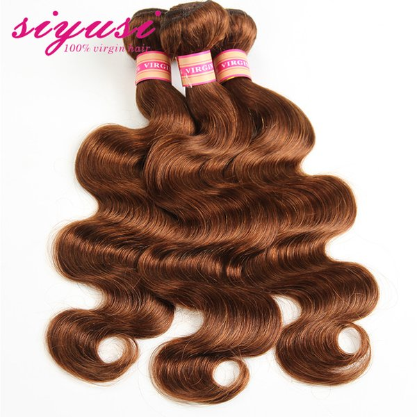 30 Medium Auburn Brazilian Body Wave Virgin Hair Weave Medium Brown