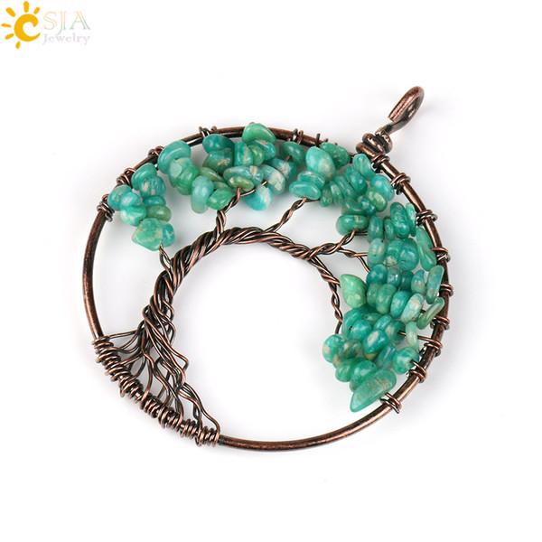 CSJA Real Natural Reiki Gemstone Beads Aquamarine Amazonite Olivine Amethyst Wisdom Tree of Life Jewelry Charms Pendants for Necklace E508 B