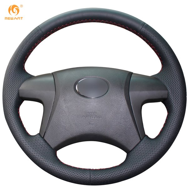 Mewant Black Artificial Leather Car Steering Wheel Cover for Toyota Highlander Toyota Camry 2007-2011