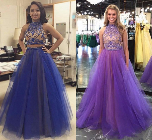Purple Two Piece High Neck Prom Dresses With Beaded Stones Crystal Open Back Long Evening Dress Gown Formal Occasion Vestidos De Festa Tulle