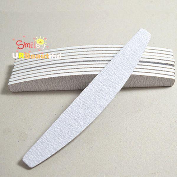 Großhandels-10pcs Berufsnagel-Kunst-Doppelseite gebogene Nagel-Brett-Grau-Sandpapier-halbmond-Nagel-Akten-Puffer-Block-Maniküre-Werkzeug
