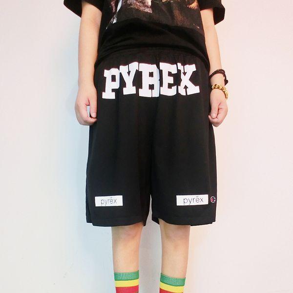 top popular Wholesale-Fashion 2016 Summer Pyrex Shorts men mens Casual compression hip hop board black Loose shorts 2019