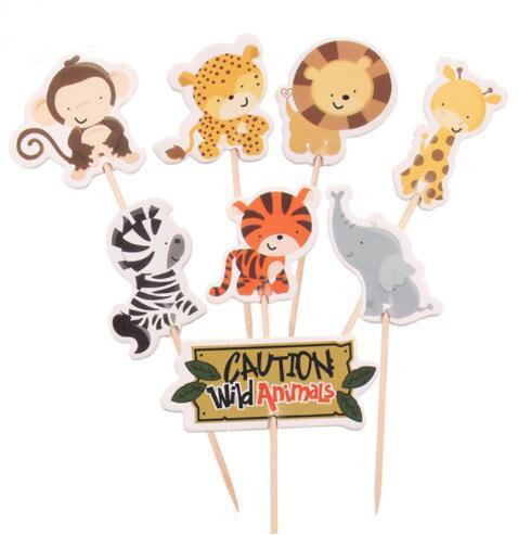 24pcs / set Safari Jungle Animal Toppers Cupcake Picks Birthday Party Decoration Bambini Baby Shower Boy Favori decorazione di una torta