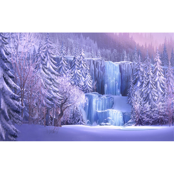 Snow Covered Pine Trees Icefall Forest Photography Backgrounds Frozen Waterfall Winter Scenic Wallpaper Studio Photo Shoot Backdrop