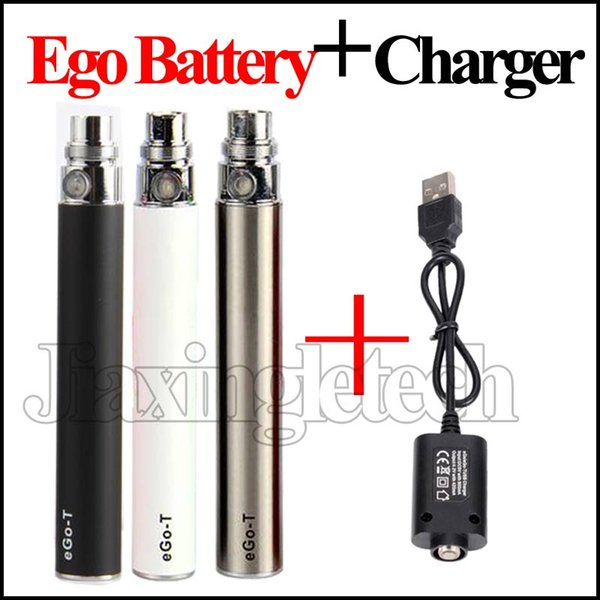 eGo T Battery With USB Charger 650mAh 900mAh 1100mAh E Cigarette 510 Thread Vape Pen Battery Vaporizer And Long USB Cables Charger DHL