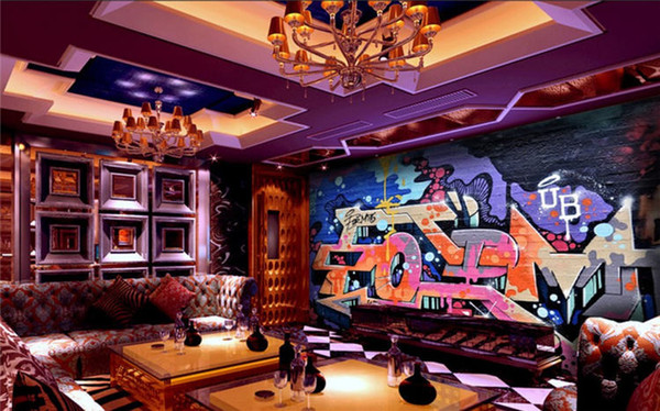 3d настенная бар молочный чай магазин ресторан обои кирпичная стена граффити ретро современный бар ктв декоративный фон стена