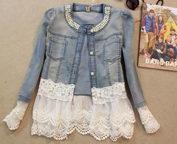 Frauen spitze perlen denim jacke langarm jeans jacken plus größe frühling herbst weibliche übergroße jean mantel mädchen cowboy oberbekleidung tops