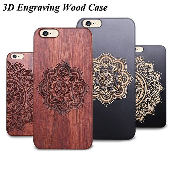 3D Embossed Wooden Case For Iphone 5 5s se 6 6s 7 plus Phone Cover Luxury Wood Bamboo With PC Hard Back Cases For Samsung S8 S7 S6 edge S5