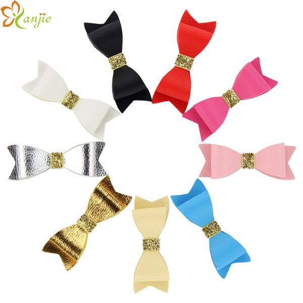 "27pcs /Lot 3 ""Leather Bows Without Hair Clips Girl 'S Solid Leather Hair Bow For Kids Diy Headband Headwear Hair Accessories"