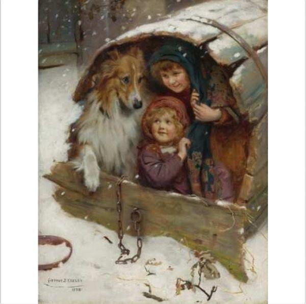 Incorniciato Weatherbound (1898) di ARTHUR JOHN ELSLEY Dipinto a mano classica ritratto pittura a olio di arte, su tela di alta qualità Home Decor Multi size
