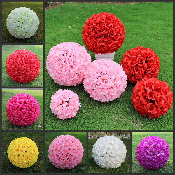 Wedding Decorations 40cm 16 Inch Artificial Rose Silk Flower Kissing Balls Pomander Rose Wedding Flowers Bouquet Hanging Balls Party Decor