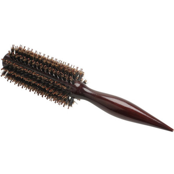 Portable Natural Bristle Anti-static Curly Wood Handle Hair Care Styling Comb Radial Brush Hairdressing Tool For Salon/Home