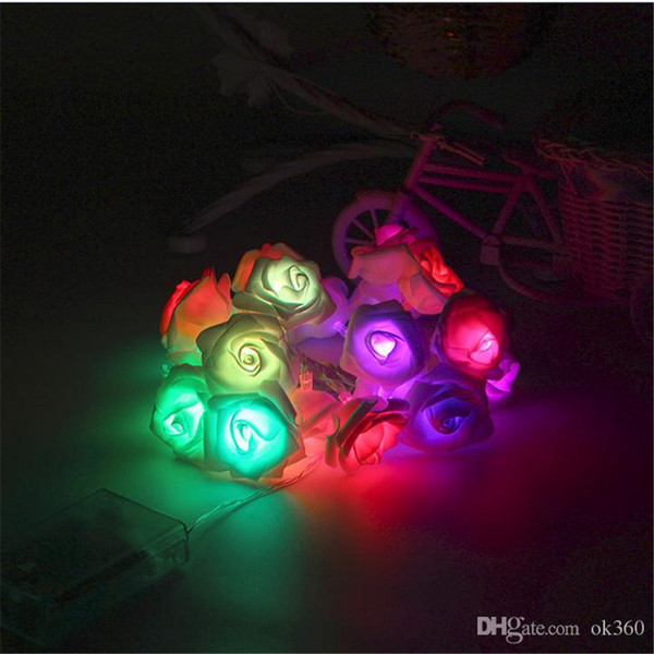4M 40LED Rose Flower LED String Lights Battery Operated Christmas Fairy Lights Event Wedding Birthday Party Decoration Lightings Casamento