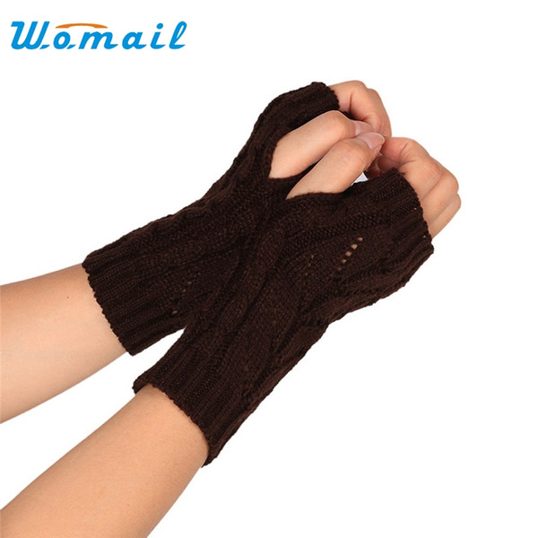 Wholesale- Womail Fashion Winter Women Knitted Fingerless Gloves Mitten short half finger gloves Women's Accessories 2017 Gift 1pair
