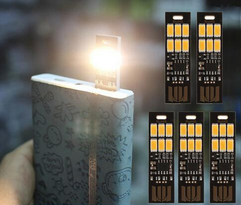 Wholesale-Mini USB Power 6 LED Lamp 1W 5V Touch Dimmer Warm Light for Power Bank Computer Laptop