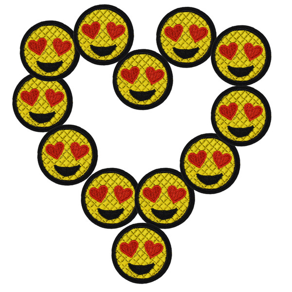 10 pcs Big Smiling face patches cute badges for clothing iron embroidered patch applique iron on patches sewing accessories DI10pcs love eye