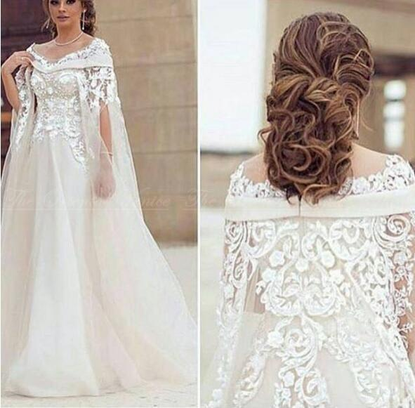 2017 Saudi Arabic White Lace Evening Dress With Watteau Train Long