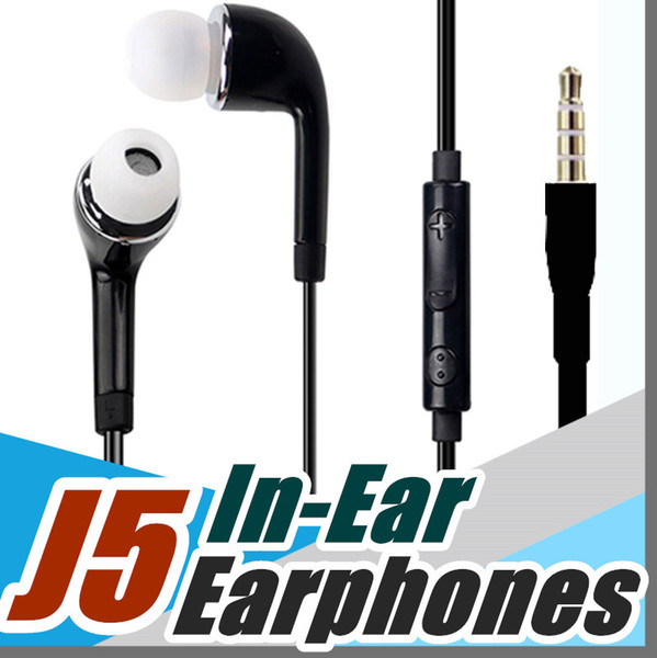 P J5 3.5mm Inear earphone With Mic Volume Control For iphone 678 HTC Android Samsung Galaxy S4 S5 S6 S7 S8 Note 5 xiaomi mobile Phones F-EM