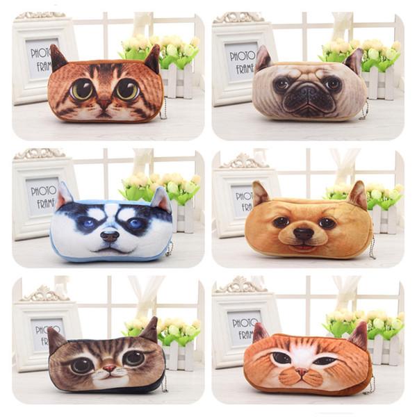 Wholesale-Free shipping 3D Plush Animal Cute Cartoon Kawaii Pencil Pencil Bag Kids School Supplies Material Stationery Case Plush
