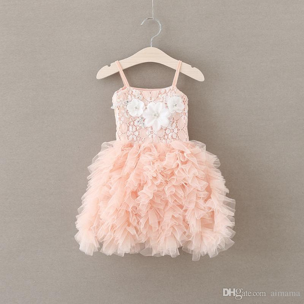 2017 Pink Flower Princess Dress Harness Sleeveless Dress Baby Girls Clothing Dresses Childrens Dresses For Kids Free Shippping