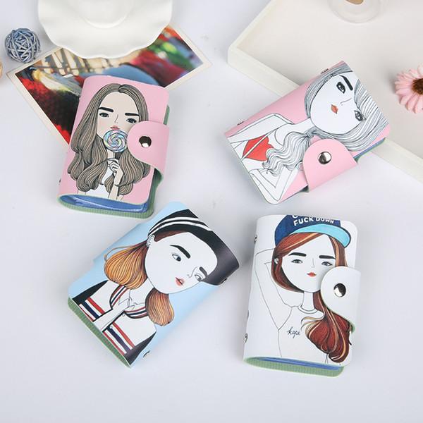 30PCS женщин бизнес кредитной карты держатель милый мультфильм кожаный мешок карточки бумажник дамы Моды Multi-карты ID держатель пакета