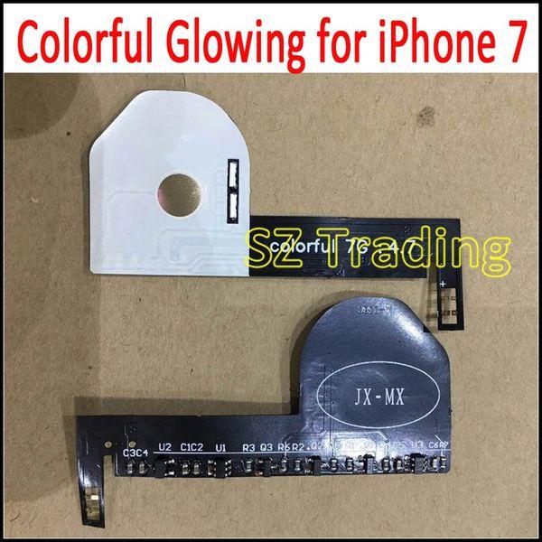 Para iphone 7 plus touch led logotipo branco luminescente brilhante led light up logotipo transparente mod para iphone7 7 plus 5.5 frete grátis
