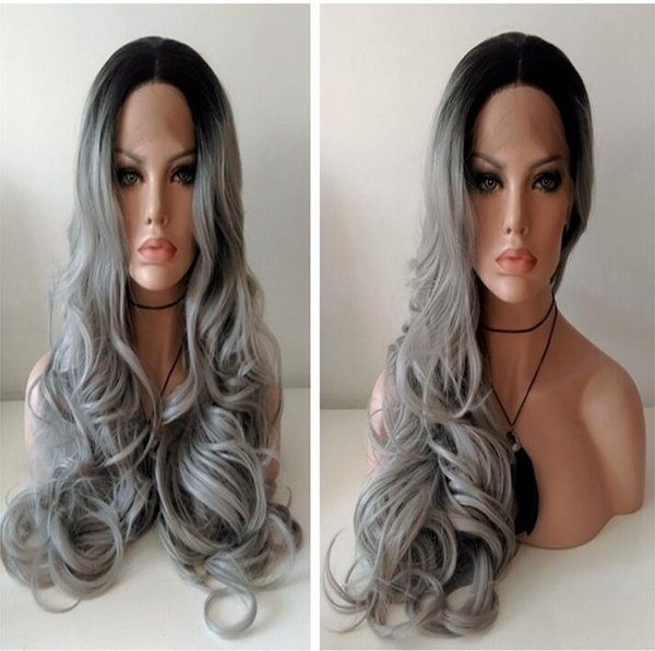 two tone hair #1b/dark grey synthetic lace front wig for woman 16-26inch synthetic hair lace wig