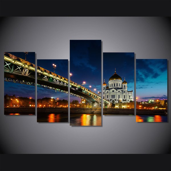 5 Pcs/Set Framed HD Printed Russia Moscow Cathedral Christ Picture Wall Art Canvas Print Room Decor Poster Canvas Painting Wall