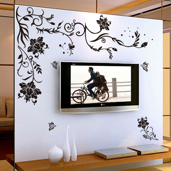 Black Flower Vine Wall Stickers Home Decor Large Paper Flowers Living Room  Bedroom Wall Decor Sticker