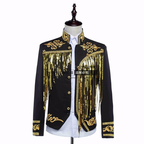 male jacket blazer prom groom coat outfit singer sequined gold silver host clothing nightclub stage activities star singer dancer coat