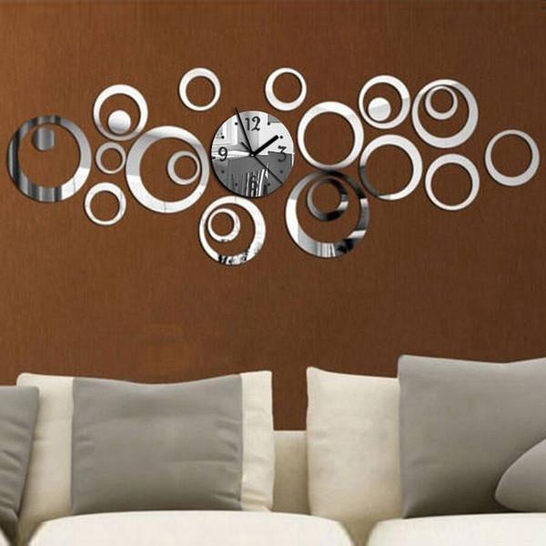 Großhandels-Neue Art und Weise Europa-modernes Entwurfs-Acrylhall-Quarz-Wanduhr-kreative Kunst-Ausgangsdekorativer Vorhalle-großer Spiegel-Diy 3D reloj heiß