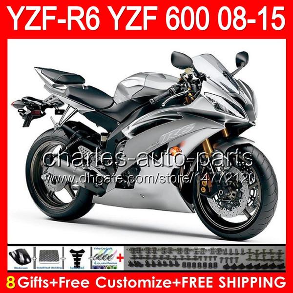 8gifts For YAMAHA YZF R6 08 09 10 11 12 13 15 YZF600 YZF-R6 gloss silver 86NO150 YZFR6 2008 2009 2010 2011 2012 2013 2015 TOP black Fairing