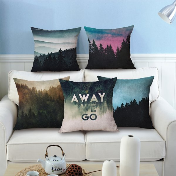 Swell New Mist Cushion Cover Decorative Nordic Forest Chair Couch Throw Pillow Case Vert Woodland Almofada Modern 45Cm Scenic Cojines Outdoor Throw Pillows Alphanode Cool Chair Designs And Ideas Alphanodeonline