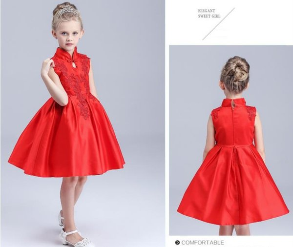 Summer Girls Red Satin Embroidery Dress Chinese Style Bridesmaid Dresses Brand Qipao Design Flower Girls Wedding Dress