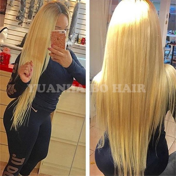 Full lace wigs Celebrity wig 28inch long blonde hair wig silky straight ombre brown roots front lace wigs free shipping