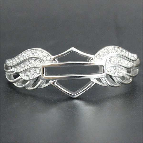 Support Dropship Newest Design Motorcycles Crystal Bracelet 316L Stainless Steel Biker Fashion Jewelry Lady Girls Wings Bracelet