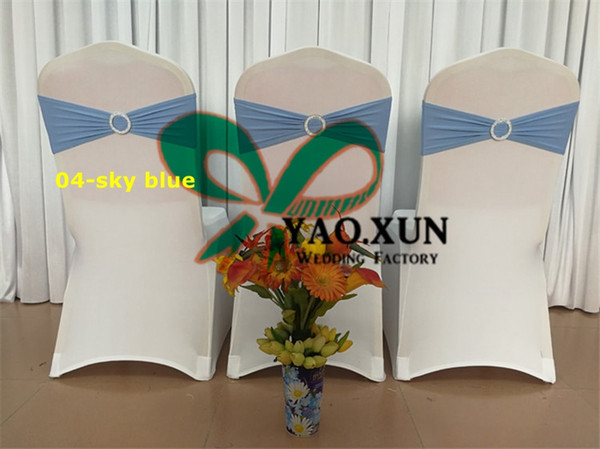 50 White Spandex Chair Cover\Lycra Chair Cover +50pcs Sky Blue Color Lycra Chair Band With Buckle