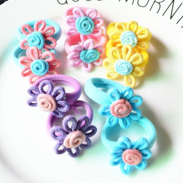 Free Shipping 50 Pcs (25 Pairs) Cloth Fabric Flower Mini Smal Girls'l Hair Ropes Kids Hair ties Ponytail Holder Kids Accessories